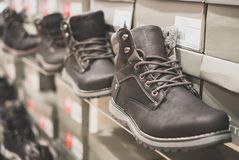 Collection of men`s winter shoes. royalty free stock images