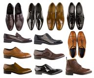 Collection of men shoes. Collection of fasion color men shoes Royalty Free Stock Image