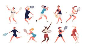 Collection of men and women dressed in sports apparel playing tennis. Set of sportsmen and sportswomen holding rackets stock illustration