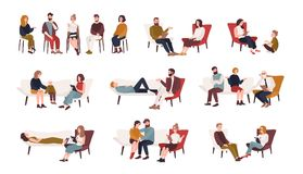 Collection of men and women or married couples sitting on chairs or lying on sofa and talking to psychotherapist or. Psychologist. Group or family psychotherapy Royalty Free Stock Image