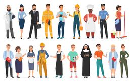 Collection of men and women people workers of various different occupations or profession wearing professional uniform vector illustration