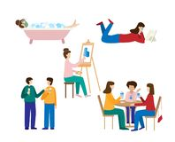 Collection of men and women spending weekend. vector illustration