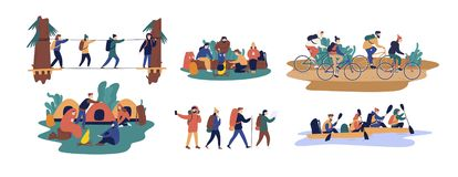 Collection of men and women travelling together. Set of friends or tourists riding bicycles, rafting on boat, walking. Along bridge, going camping. Colorful vector illustration