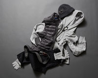 Collection of men& x27;s warm clothes Stock Images