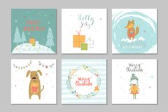 Collection of 6 Merry Christmas cute greeting card with animals, Royalty Free Stock Images