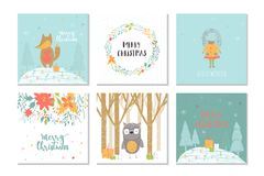 Collection of 6 Merry Christmas cute greeting card with animals, Stock Images