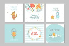 Collection of 6 Merry Christmas cute greeting card with animals, Stock Photography