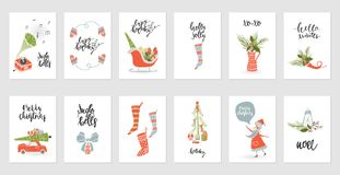 Collection Merry Christmas gift cards Stock Images