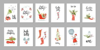 Collection Merry Christmas gift cards Royalty Free Stock Photo