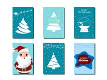 Collection of Merry Christmas greeting cards and invitations. Santa claus snow globe and Christmas tree ornaments and decorative. Elements. Merry Christmas and Stock Images