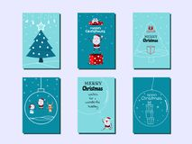 Collection of Merry Christmas greeting cards and invitations. Santa claus with surprise gift box. Christmas tree ornaments. And decorative elements. Merry Stock Photo
