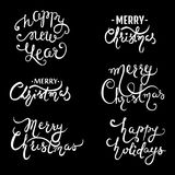 Collection Merry Christmas hand drawn lettering design. Stock Photography