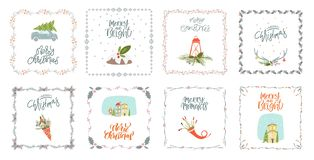 Collection Merry Christmas and Happy New Year royalty free illustration