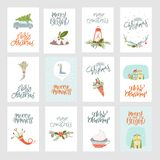 Collection Merry Christmas and Happy New Year stock illustration