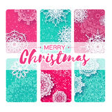 Collection of 6 Merry Christmas and New Year Greeting card. With paper cut origami snowflakes on blue pink backgound. Vector seasonal badge design royalty free illustration