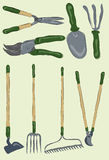 Collection of messy hand drawn gardening tools. Messy stylized gardening tools. Each item is on its own layer, background is also on its own layer. Easy to vector illustration