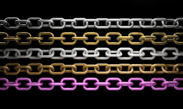 Collection of metal chain parts. On black background 3d render Stock Photos
