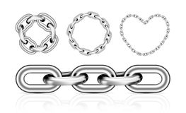Collection of metal chain parts Royalty Free Stock Images