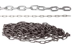 Set of metal chains isolated on white background stock images