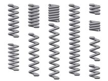 Steel Compression Coil Spring Set On White Background. A collection of metal coil springs over a white background Royalty Free Stock Image