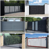 Collection of metal, modern gate Stock Photos