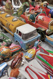 Collection of metal retro play-toys. High angle close up photo of a colorful collection of antique play-toys, Beijing Panjiayuan Market, Beijing, China Royalty Free Stock Photos