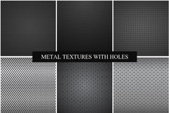 Collection of metal textures with holes. Royalty Free Stock Image