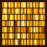 Collection metallic and golden gradient illustration. Set gold gradients. Golden squares collection. Golden background Royalty Free Stock Images