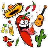 Collection mexicaine d'icône de poivre de piment de mariachi illustration libre de droits