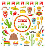 Collection of Mexican Icons Isolated on White Background Stock Photography
