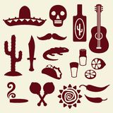 Collection of mexican icons in native style Royalty Free Stock Photo
