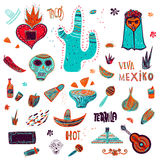Collection of Mexican items Royalty Free Stock Images