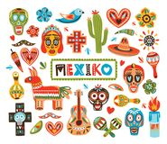 Collection of Mexican national attributes isolated on white background - pinata, sugar skulls, chili pepper, maracas. Sombrero, guitar, cactus lime. Colorful Royalty Free Stock Photo
