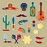 Collection of mexican stickers in native style Stock Image