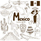 Collection of Mexico icons Royalty Free Stock Photos