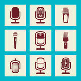 Collection of Microphone icons - Illustration Stock Image