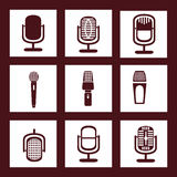 Collection of Microphone icons Stock Photos