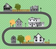Collection mignonne assortie de maisons sur le fond transparent Route Photographie stock libre de droits