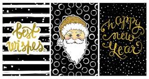 Collection mignonne avec des cartes de la bonne année 2017 Image libre de droits