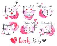 Collection mignonne d'aquarelle de chats chatons beaux Illustration tirée par la main originale cartoon illustration de vecteur