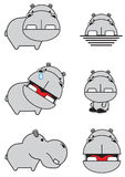 Collection mignonne d'hippopotame Photo libre de droits
