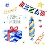 Collection mignonne d'illustrations de Noël d'aquarelle Ensemble d'hiver pour l'album et la conception illustration stock