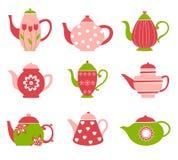 Collection mignonne de bac de thé Images stock