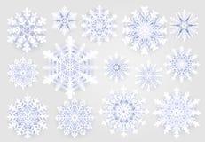 Collection mignonne de flocons de neige sur le fond gris Éléments de décoration de holydays de Noël Flocon de neige d'hiver de ne illustration libre de droits