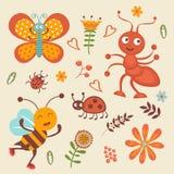 Collection mignonne de petits insectes heureux Images libres de droits