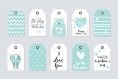 Collection mignonne de vecteur de 10 étiquettes de cadeau Le jour heureux de Valentine Images stock