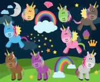 Collection mignonne de vecteur de licornes ou de chevaux Images libres de droits