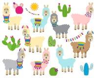 Collection mignonne de vecteur de lamas, de vigognes et d'alpaga Photographie stock