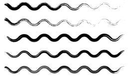 Collection mince sèche grunge de vagues de courses de brosse D'isolement, vecteur Ensemble tiré par la main illustration stock