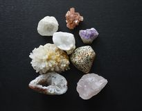 A Collection of Mineral Crystal Stones of Various Colours and Textures Stock Image